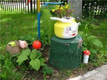 Украшения для сада и огорода из шин и покрышек